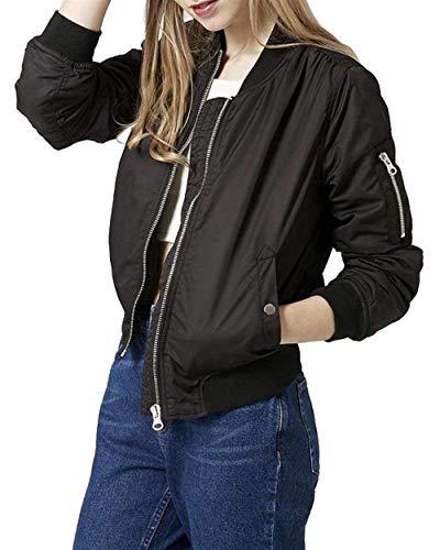 Autunno Donna Con Alta Manica Chic Pilot Coreana Bomber Cerniera Vita Monocromo Biker Collo Lunga Jacket Schwarz Di Giacca Elegante Cute Cappotto Moda Corto rYwq7rH