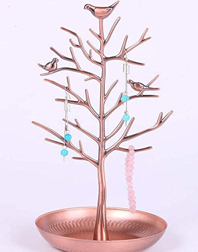 Newcreativetop Antique Birds Tree Stand Jewelry Display Necklace Earring Bracelet Organizer Holder Gold