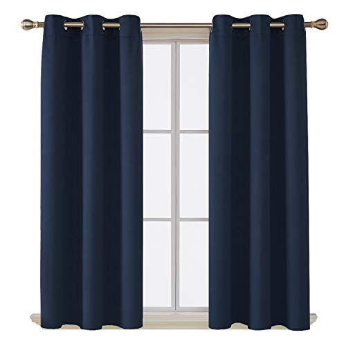 (Deconovo Grommet Curtain Room Darkening Curtains Thermal Insulated Drapes 42 Inch by 84 Inch Navy Blue Set of Four)