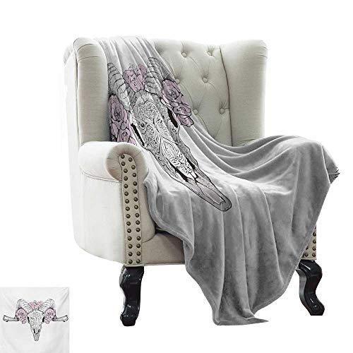 Hello Kitty Lamb Blankets - Anyangeight Skull,Throw Blanket,Bones of a Lamb with Rose Flowers Spiritual Oriental Creepy Bohemian Graphic Print 60