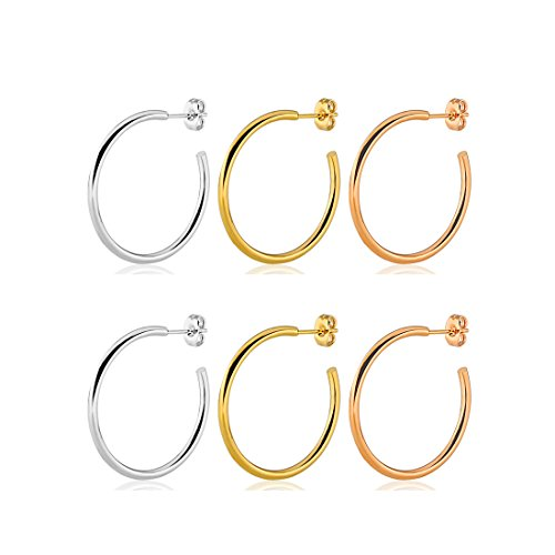 20g Stainless Steel Half C Hoop Stud Earrings Set For Women Girls 10mm 30mm (10mm)