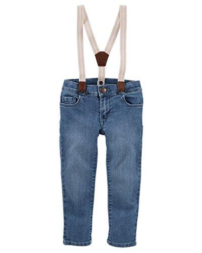 OshKosh B'Gosh Girls' Suspender Embroidered Jeans NB-5T (2T, Denim 2)
