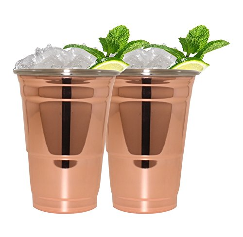 Silver One Stainless Steel Copper Finish Tumbler Shape Cocktail Moscow Mule Mug, 20 oz., Two Pack