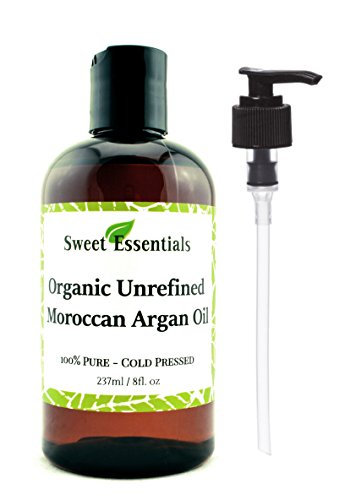 Organic Unrefined Virgin Moroccan Argan Oil – 8oz – Imported from Morocco – FREE Pump included – From Raw Unroasted Nuts – Miracle Oil For Every Skin Condition, Hair, Nails, Anti-aging & More!