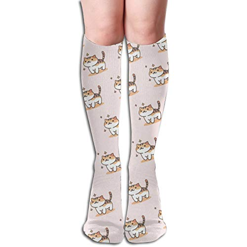19.68 Inch Compression Socks Cat Kitty Kitten High Boots Stockings Long Hose For Yoga Walking For Women Man -