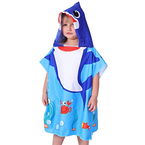 Agetp Kids Hooded Towel for Swimsuit Cover Up for Beach, Pool, Bath Super Soft and Absorbent 100% Microfiber 24″ W x 24″ L Oversized Poncho Robes Towel for Toddlers Under Age 6