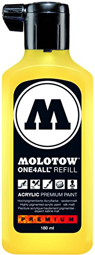 Molotow ONE4ALL Acrylic Paint Refill, For Molotow ONE4ALL Paint Marker, Zinc Yellow, 180ml Bottle, 1 Each (692.006)