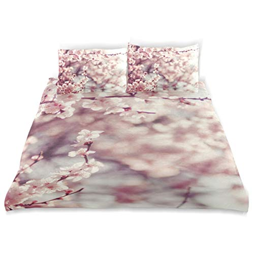 LONSANT Spring Duvet Cover Set Spring Cherry Blossoms Pink Flowers Design Bedding Decoration Twin Size 3 PC Sets 1 Duvets Covers with 2 Pillowcase Microfiber Bedding Set Bedroom Decor Accessories