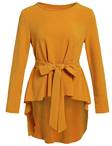 Romwe Women's Raw Hem Long Sleeve Belted Flare Peplum Blouse Shirts Top Yellow S
