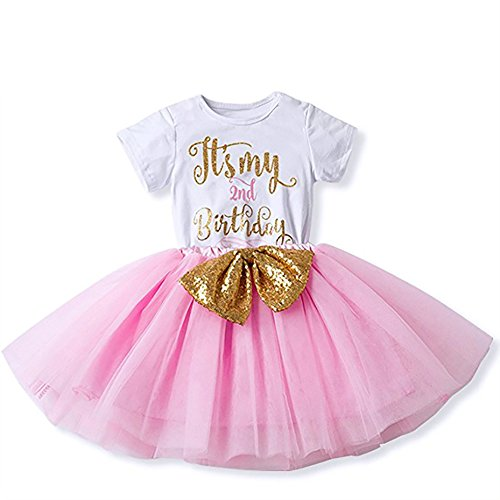 IBTOM CASTLE Girl Newborn It's My 1st/2nd Birthday Shinny Printed Tutu Princess Dress Onesie Outfit Set Pink (2 Years)