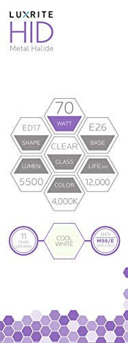 Luxrite LR20645 (4-Pack) MH70/U/ED17 70-Watt HID Metal Halide Light Bulb, Cool White 2100K, 5500 Lumens, E26 medium base by Luxrite (Image #3)