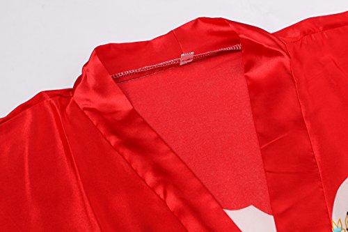 Yukata Women's Japanese Traditional Geisha & Sakura Satin Kimono Robe, Red L by Joy Bridalc (Image #2)