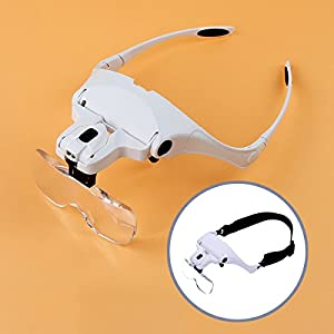 New Magnifying Glasses,Magnifier Headset,Eyewear Miniature Magnifying Glass,Magnifying Eyeglasses 1.0X, 1.5X, 2.0X, 2.5X, 3.5X with 2 LED Lights BIMANGO