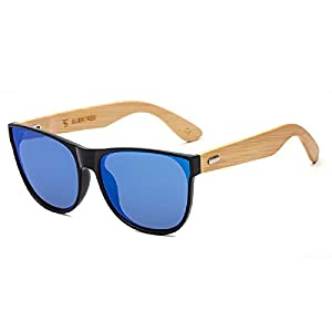 SUERTREE Bamboo Sunglasses Vintage Shades Retro in Wayfarer Handmade Wood UV400