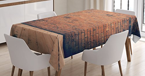 Ambesonne Vintage Decor Tablecloth, Old Fashioned Bricks in Dark Room with Antique Wood Floor Vintage Ancient Retro Room Decor, Rectangular Table Cover for Dining Room Kitchen, 60x90 Inches, ()