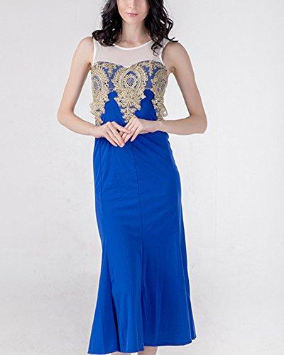 Maxi Azul Noche Largo Vestido Vestido Cola Elegante Fiesta Pescado De Mujer PYgvqnZwWw