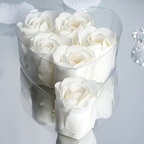 Efavormart Lot of 50 Birthday Banquet Event Wedding Decoration Party Favor Heart Rose Soap Petals| Color| White