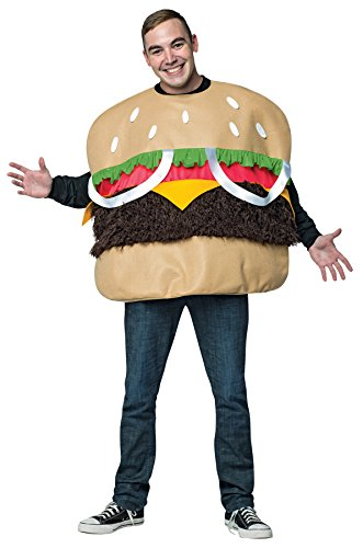 [UHC Men's Fur Burger Outfit Funny Comical Theme Party Adult Halloween Costume, OS] (Comical Halloween Costumes)