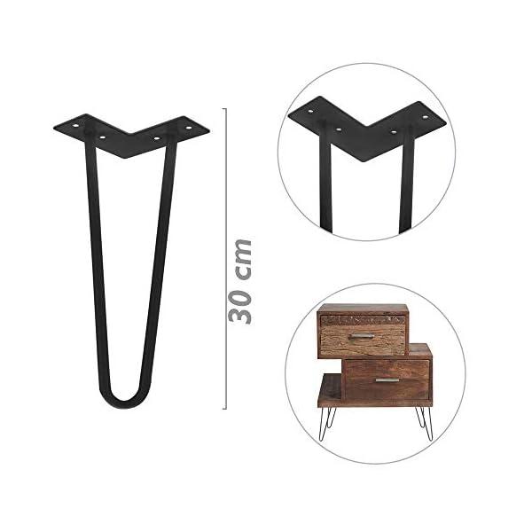 PrimeMatik – Pieds de Table pour Meubles et Bureau en Acier 2 tiges 30 cm Noir 4-Pack