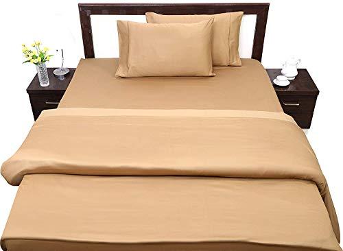 """400 TC Flat Sheet+Fitted Sheet 15/"""" Deep+Pillowcase 100/% Cotton"""