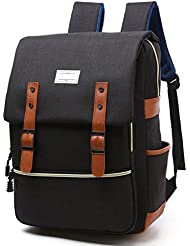 Apiidoo Unisex Vintage Canvas Leather Backpack Rucksack Laptop School Bookbags