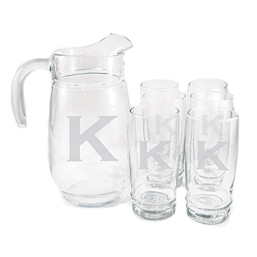 Personalized Retro 7-piece Drink Set - Monogrammed Glass Pitcher Set Personalized Pitcher Set, Monogrammed Wedding Gift, Engraved Pitcher Plus 6 Glasses, Customized Newlywed Gift, Housewarming Gift