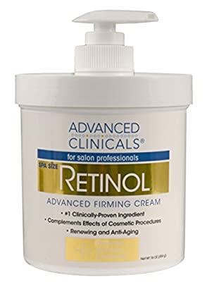 Advanced Clinicals Retinol Cream. Spa Size for Salon Professionals. Moisturizing Formula Penetrates Skin to Erase the Appearance of Fine Lines & Wrinkles. Fragrance Free.
