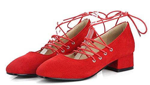 Fiançailles Classique Rouge Aisun Carré Lacets Escarpins Femme Bout Cheville w18Z85Yqx