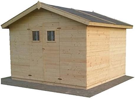 CADEMA casa de jardín MADRID 19 mm de madera, incluye suelo, 3, 3 m x 3, 3 m x 2, 3 m (3 x 3 m) de casa para aparatos: Amazon.es: Jardín