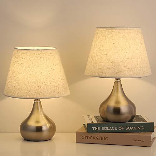 Bedside Table Lamps, Modern Nightstand Lamp Sets with Fabric Shade and Metal Base Vintage Elegant Desk Lamp for Living Room, Bedroom, Dorm Room, Girls Room, Office, Hotel, Set of 2