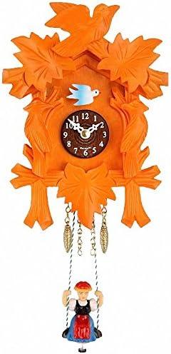 Trenkle Kuckulino Black Forest Clock with quartz movement and cuckoo chime orange TU 2002 SQ orange