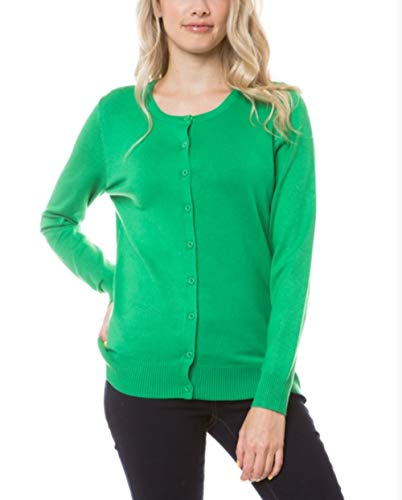 CIELO Womens Long Sleeve Button Down Crew Neck Knit Cardigan Sweater (Apple Green, Large) Crew Long Sleeve Cardigan