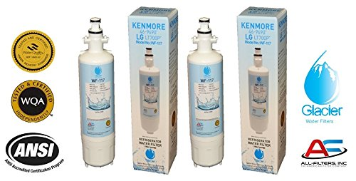 LG Refrigerator Water Filter Replacement - Fits LG Refrigerator Filter for LT700P, ADQ36006101, Kenmore 46-9690 - Compatible with LG Water Filter LT700P for Refrigerator (2) by Glacier Water Filters