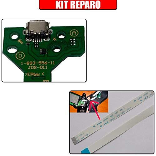 Kit Reparo Controle Ps4 - Placa Usb Controle Ps4 Jds-011 + Cabo Flat Jds-011 12 Vias
