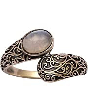 925 Sterling Silver 1.70 Ctw Oval Cabochon Rainbow Moonstone Bypass Over Wrap Bohemian Ring