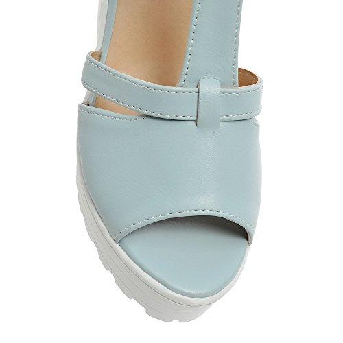 Amoonyfashion Mujer Peep Toe Cremallera Mezcla Materiales Sólidos Sandalias De Tacón Alto Azul