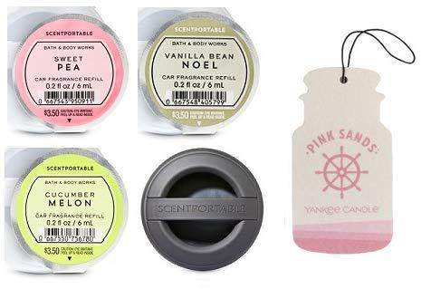Bath and Body Works Black Soft Touch Visor Clip Car Fragrance Holder and 3 Scentportable Fruits Fragrances + Paperboard Car Fragrance Pink Sands.