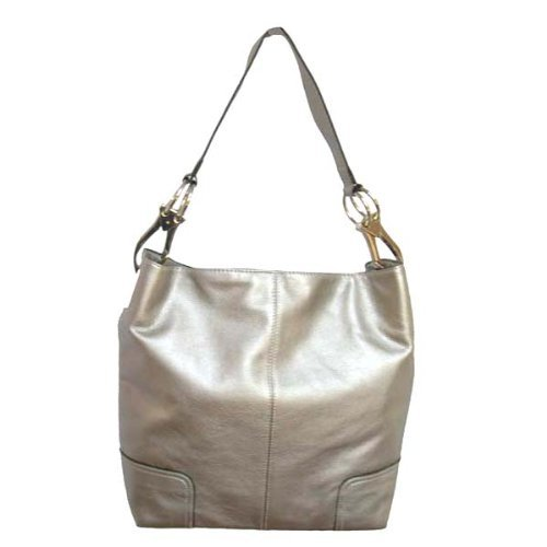 Classic Tall Lg TOSCA Hobo Shoulder Handbag Metallic Brown Silver Buckles Italy (Metallic Handbag Buckle)