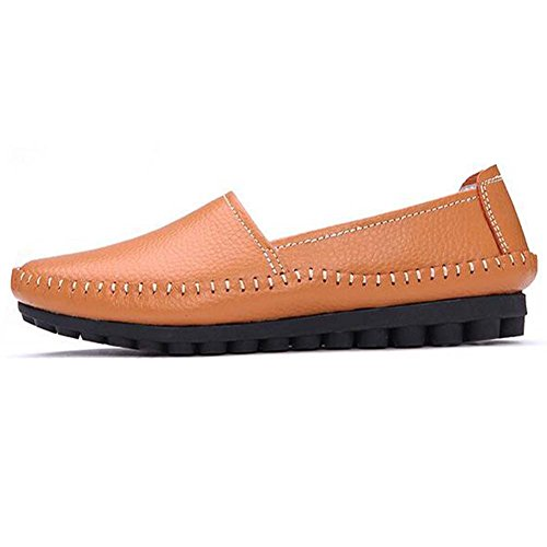 Hattie Women Casual Leather Loafers Moccasins Flats Boat Shoes Orange 3KAEKL2i5