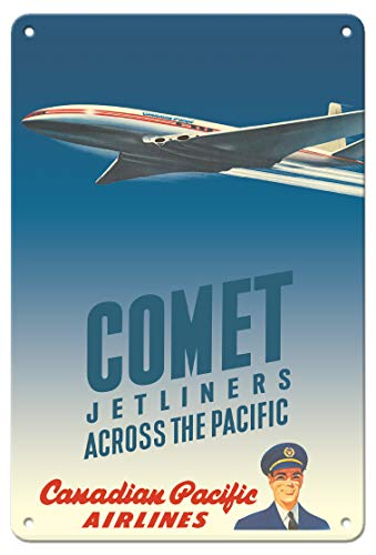 Canadian Pacific Airlines - Pacifica Island Art 8in x 12in Vintage Tin Sign - Comet Jetliners Across The Pacific - Canadian Pacific Airlines by Peter Ewart