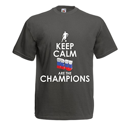 lepni.me T Shirts For Men Keep Calm, Russian Are The Champions (XXX-Large Graphite Multi Color)