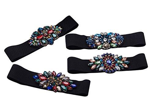 Vintage Colorful Beaded Stretch Belts for Women,Ladies Wide Rhinestone Belt (Color 3) by SanJL (Image #3)