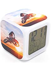 EGS New Digital Alarm Clock Motorcycle Mountain Racing Extreme Motocross Yellow Plastic Desk Table Led Alarm Clock Creative Personalized Multifunctional Battery Clock Special Toy Gift for Unisex Kids Adults 3*3*3 inches