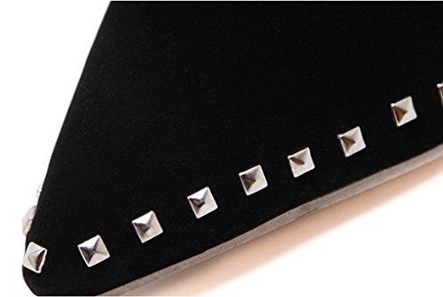 De Europese En Amerikaanse Populaire Single Schoenen Mode Klinknagels Hoge Hak Damesschoenen (kleur: Zwart, Maat: 38) Zwart
