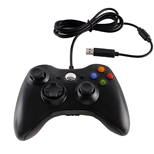 Wired USB Game Controller Gamepad Game Joystick Joypad for Microsoft Xbox 360 & Windows PC (Black)