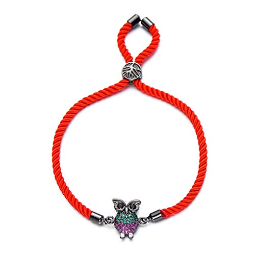 Arm Decoration Fashion Green; Red Cubic Zirconia Animal Owl Appeal Bracelet Adjustable Red String Bracelets; Bangles for Ladies Jewelry