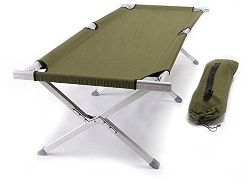 World Outdoor Products Military Style Aircraft Grade Anodized Aluminum Frame Camping Cot Featuring OD Green 600 D Washable and Mildew Resistant Polyester Fabric and LED Flashlight