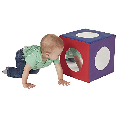 ECR4Kids SoftZone Mirror Cube - Foam Sensory Toy for Baby/Toddler Play & Self-Discovery, Assorted - Kids Play Mirror