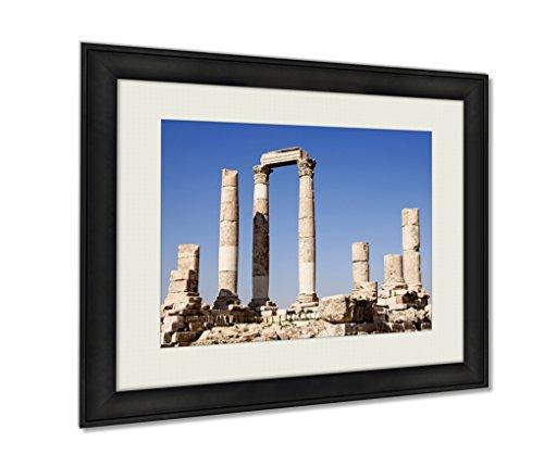 Ashley Framed Prints, Roman Pillar Ruins On Citadel Top Amman Jordan, Black, 24x30 - Top Arch Ebony