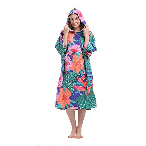 Hiturbo Womens Beach Surfing Swimming Robe, Light Weight Wetsuit Changing Towel Poncho with Hood -